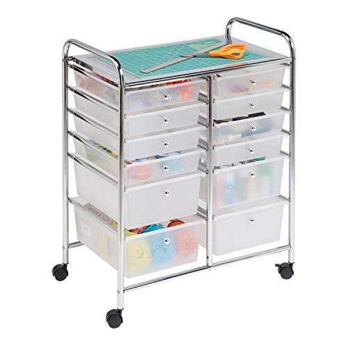 Honey-Can-Do Oficina Organizador, Carrito para estudio, 12 gavetas, Cromado, 8, 1