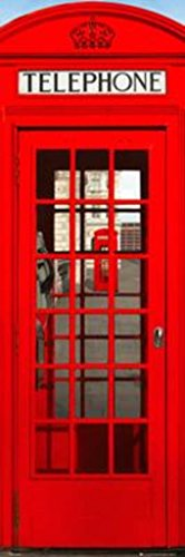 London England Red Telephone Box (Phone Booth) Decorative Travel Photography Art Print Poster 12x36
