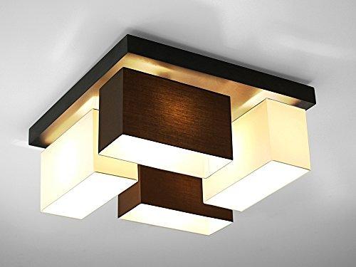 Plafonnier – Wero Design Vitoria- 001 Mélange Marron/Blanc – plafonnier, abat-jour, 4 lampes, bois, tissu, chrome