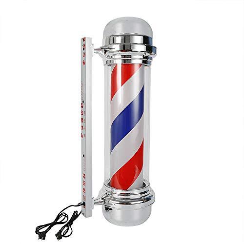 "WUPYI 28"" Barber Pole LED Light,Barber Shop Pole Red White Blue Rotating Light LED Stripes Pole Light Hair Salon Sign Wall Mount Rotating Light"