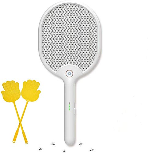 X Home Electric Fly Swatter Racket with Led Light Kill Mosquito Fruit Fly, USB Recharge Bug Zapper with 3-Layer Safety Mesh, Modern White