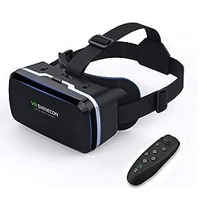 VR Brille KAMLE 3D VR Headset - für 3D Filme und Spiele,Video Movie Game Brille 3D VR Brille with Bluetooth Controller,Kompatibel mit 3.5~6 Zoll Smartphones,für iPhone 7 7s /6 6s+,Galaxy S8 S7 etc.