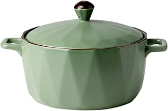 Bestonzon 1Pc Ceramic Soup Bowls with Handles and Lid Diamond Pattern Instant Noodle Bowl Oven Safe Storage Bowls (Green, ...