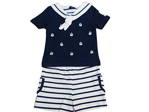 Con etiquetas. Traje de marinero y pantalón corto para bebé de 2 piezas, color azul marino y blanco