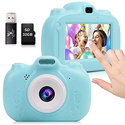 Kids Camera, 30MP Digital Camera for Kids Gifts, 3 Inch HD Touch Screen 1080P Digital Video Camera for Kids 3-10 Year Old Boys Girls with 32GB SD Card, SD Card Reader 2020 Upgrade from SNAHIKE