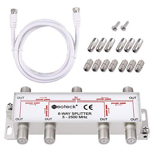 Neoteck 6-Way Coax Cable Splitter MoCA 5-2500MHz, Coaxial Splitter