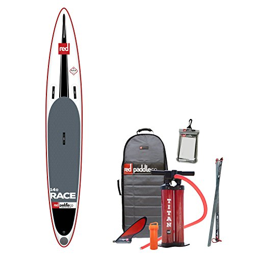 Red Paddle Co 2017 14'0 Race Inflatable Stand Up Paddle Board + Bag Pump Paddle & Leash