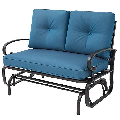 Oakmont Outdoor Loveseat Patio Swing Rocking Glider 2 Seats Metal Furniture Set (Peacock Blue)