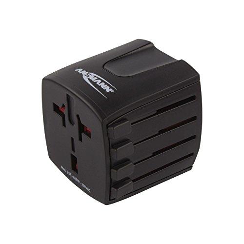 ANSMANN universal Reiseadapter weltweit All in One 2 - Reisestecker Adapter mit Schutzklasse 2 für über 150 Länder - Idealer Stecker für Reisen nach Europa, USA, UK, Australien, China & Afrika