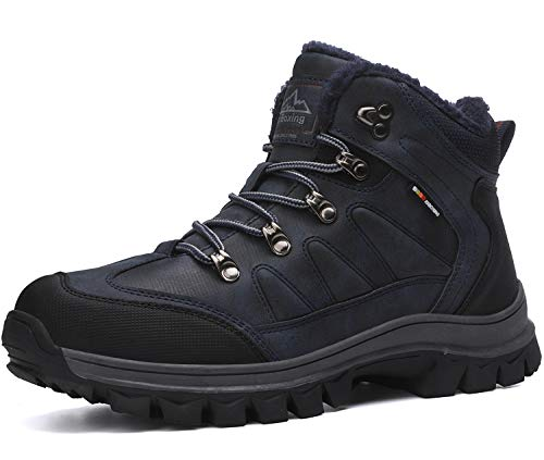 AX BOXING Winterschuhe für Herren Schuhe Winter Winterstiefel Arbeitsstiefel Schneestiefel Schneeschuhe (44 EU, 9074-Blau)