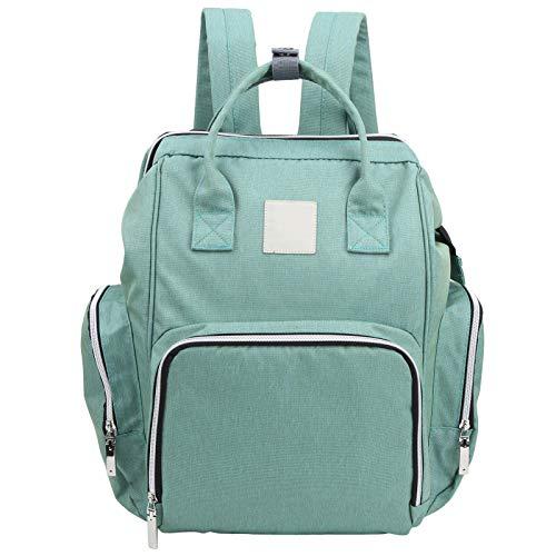 Mochila de fraldas, compartimentos com abertura grande, bolsa de bebê, para colegas de viagem, presente para pais (verde lago)