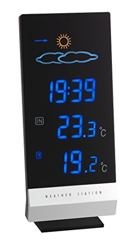 TFA Dostmann Lumax Funk Wetterstation, mit Farbdisplay, Außen- und Innentemperatur, Wettervorhersage, Funkuhr, innen und aussen, schwarz