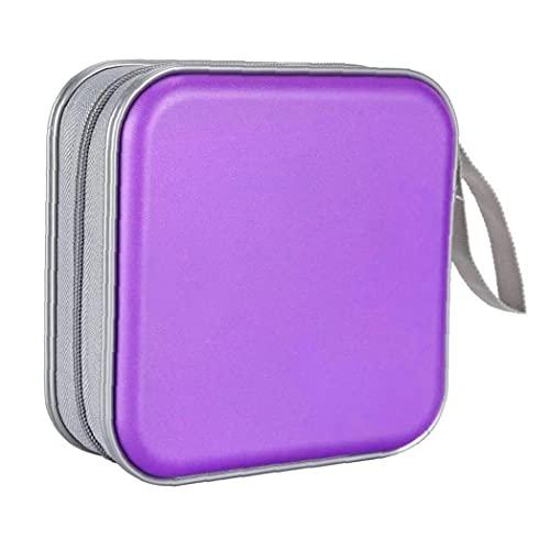 YepYes CD CD Holder Caja De La Carpeta De DVD DVD Carpeta del Organizador del Almacenaje del Álbum De Plástico Duro 40 Capacidad Portátil Púrpura