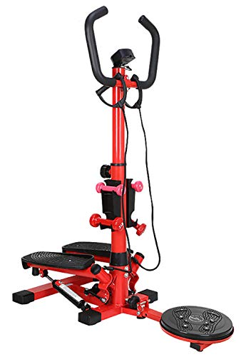 TKLLOVE Multifunktions-Stepper, 4-in-1-Modus Fitness Unisex Schwarz Rot Deluxe Stepper Gym Fitness Workout-Trainingsgerät Mit Led Monitor-großer Armlehne Design Kordelzug