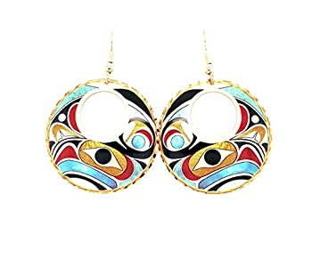 Eagle earrings for Women- Colorful Northwest Native Totem Earrings Copper handmade Tribal Eagle Earrings- Eagle Earrings Hoop