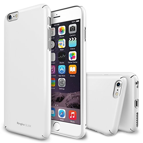 "iPhone 6 Case - Ringke SLIMEssential Ultra Thin[FREE Bonus 1 HD Screen Protector][LF WHITE] Perfect Fit & Ultra Slim Scratch-Resistant Dual Coating Minimalist Thin Protective Hard Case for Apple iPhone 6 4.7"" (2014)"