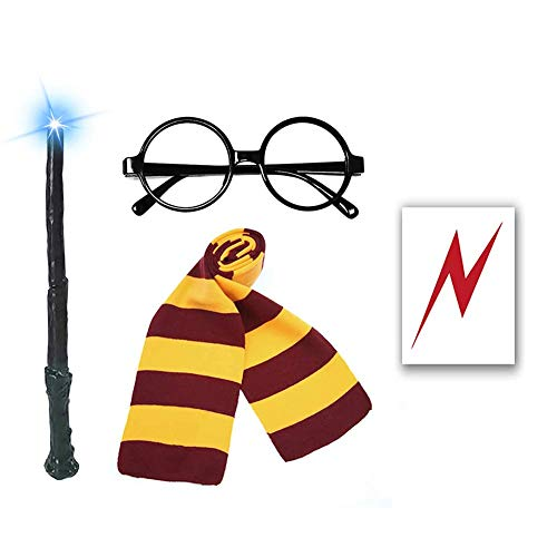 Novelty Glasses Striped Knit Scarf with Light Wizard Wand, Bolt Scar Tattoo, Cosplay Party Costumes Accessories Kid's Gift, 6PCS
