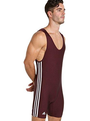 Adidas 3 Stripe Wrestling Singlet Maroon/White Large