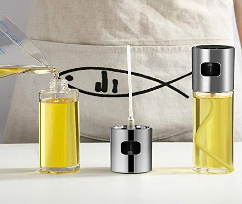 Botella pulverizadora de aceite, 100 ml, nebulizador fino de aceite de oliva recargable, acero inoxidable 304, para cocinar, ensalar, freír, asar a la parrilla, cocinar y freír.