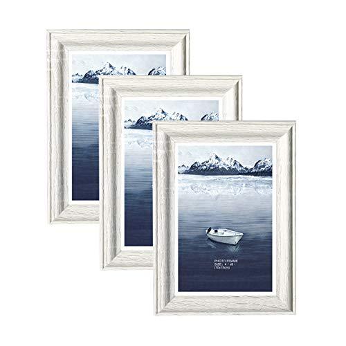 Metrekey 3er Set Bilderrahmen 10x15 cm weiß Holzmaserung aus MDF mit Echtglas Deko Fotorahmen für Foto Urkunden wandhängend oder freistehen