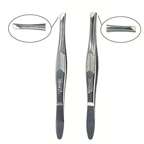 Professional Slant & Square Tip Tweezers. 2-Set.