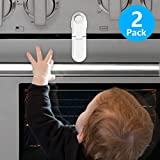 Child Safety Oven Door Lock - Oven Front Double Lock Double 3M Sticker-Universal Baby Proof Lock for Ovens, Cabinet, Stoves & Microwaves - Easy to Install & No Tools Required (2 Pack)
