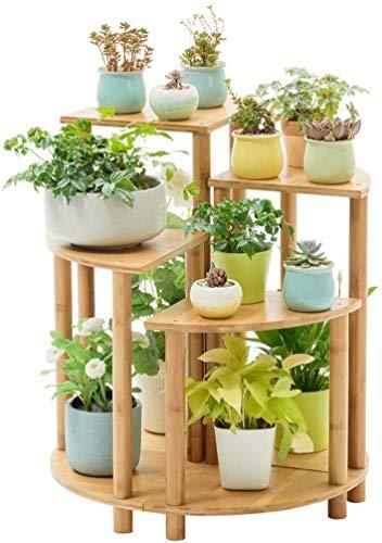 ZJN-JN Flower Shelves Bamboo Combination Fan-shaped Balcony Flower Shelf Multi-storey Living Room Floor Pot Rack 70×50×60cm Plant Stand Pot Ornaments
