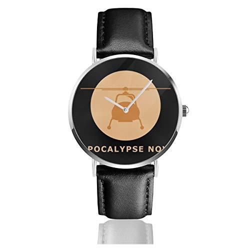 Unisex Business Casual Apokalypse Now Minimal Uhren Quarz Leder Uhr mit schwarzem Lederband für Männer Frauen Young Collection Geschenk