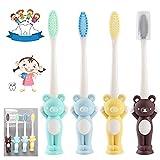 4 cepillos de dientes para niños con dibujos animados, manual...