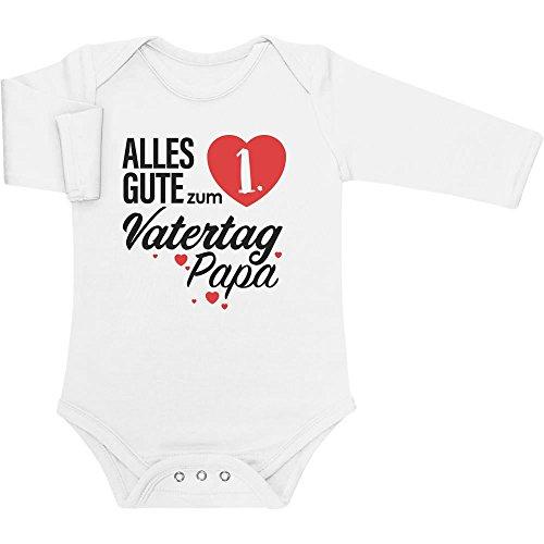 Shirtgeil Vatertagsgeschenk Alles Gute zum 1. Vatertag Papa Baby Langarm Body 50/56 (0-3M) Weiß
