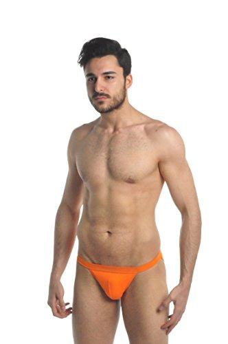 ELEGANCE1234 Tanga Coton Briefs 2 pièces pour Homme (Ref:1180) (Moyen(Medium), Orange)