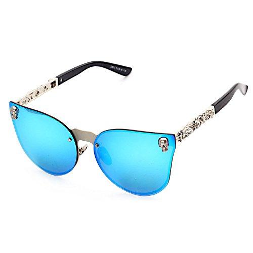 Botetrade New Oversized Gothic Herren Damen Marke Reflective Mirrored Stereoscopic Muster Sonnenbrille C4