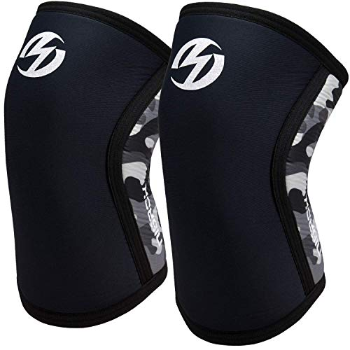 Knee Sleeves (1 Pair), 7mm Neoprene Compression Knee Braces, Great Support for Cross Training, Weightlifting, Powerlifting, Squats, Basketball and More