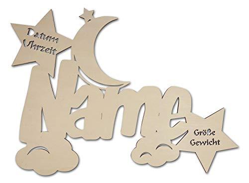 """Led Holz Nachtlicht \""""Wolken-Mond\"""" Name-n und Datum individuell personalisiert, Taufgeschenk-e Geschenk-e zur Geburt Taufe Kommunion Paten-Kind Mädchen Junge-n"""