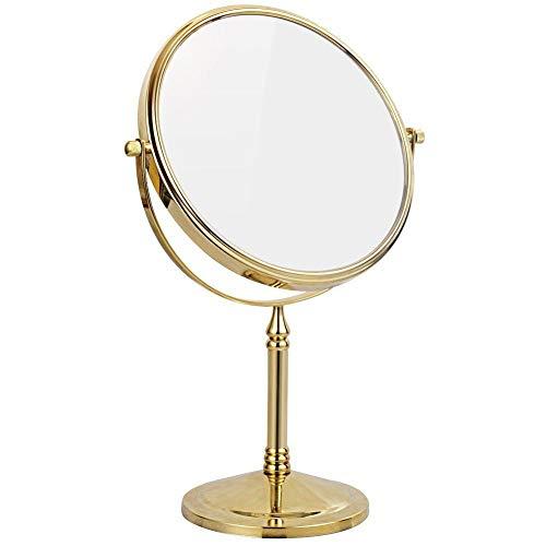 Miroirs de maquillage debout double face de 8 pouces avec grossissement 10X / 7X / 5X / 3X et miroir de courtoisie rotatif professionnel 360 en laiton,Gold,10X
