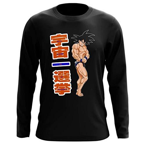 Okiwoki T-Shirt Manches Longues Noir Parodie Dragon Ball Z - DBZ - Sangoku - Mister Univers - Candidat N° 11: (T-Shirt de qualité Premium de Taille L - imprimé en France)
