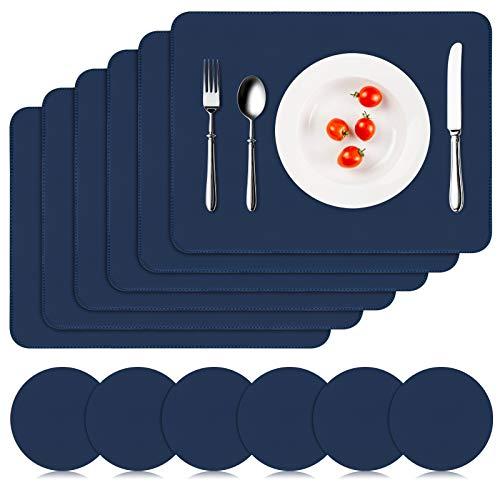 APLKER Manteles Individuales Cuero de PU Juego de 6, Mantel Individual Antideslizante Lavable Resistente Al Calor Salvamanteles Individuales Impermeables para Hoteles Restaurante, Azul Oscuro