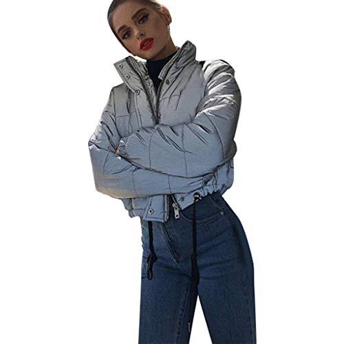 Chaquetas de Mujer Cortas Otoño Reflectante SHOBDW Mujer Liquidación Venta Sudadera Invierno Manga Larga Tops Cremallera Informal Cuello Alto Jerseys Prendas De Vestir Exteriores Chaqueta De Abrigos