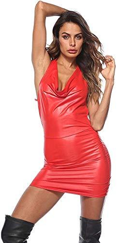 GWQDJ Mujeres Sexy Cuero PVC Látex Sexy Charol Cuello Expuesto Mochila Cadera Corto Club Fiesta Traje,Red-X-Large