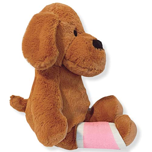 Higgy Bears 15' Broken Leg Dog Stuffed Animal- Light Pink Cast (Cast on Right Leg)