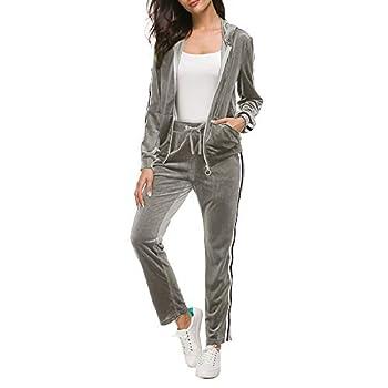 Unifizz Women Stripe Two Piece Sweatsuit Hoodie and Long Pants Velvet Tracksuit Grey S
