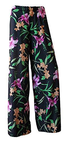WearAll Damen Palazzohose mit weitem Bein, ausgestellt, elastisch, einfarbig, Übergröße, Größen 42–52 Gr. 24-26, Schwarze Lilie.