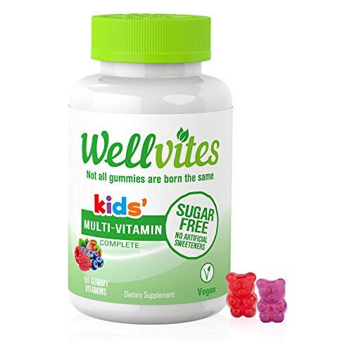 Wellvites Kids Multivitamin Sugar Free, Vegan Gummy Vitamins: Sweetener Free, Gelatin Free and Non-GMO, 60 Count (30 Day Supply)
