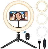 Ring Light avec Trépied, 10.2 Pouces LED Lumière Anneau avec Télécommande Bluetooth, 3 Modes d'Eclairage et 10 Niveaux de Luminosité pour Tiktok, Photo, Vidéo, Youtube, Lampe Maquillage