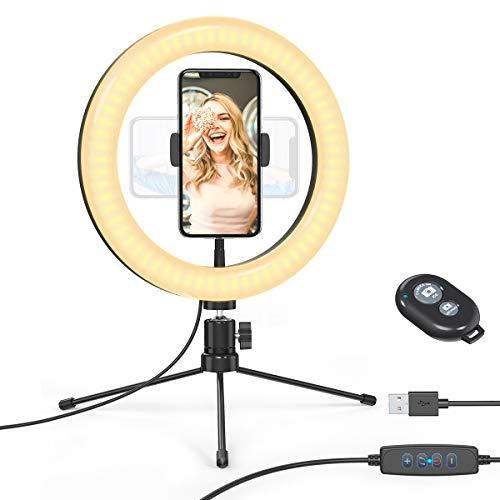 dodocool Luz de Anillo LED, 10.2' Aro de Luz, Trípode con Soporte de Móvil, 3 Modos de Luz, 10 Niveles de Brillo Regulable, Anillo de Luz para Youtube, Maquillaje, Selfie, TIK Tok, etc