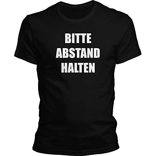 DragonHive - Camiseta para hombre, diseño con texto en alemán 'Bitte Abstand halten Corona-Virus 2020 COVID-19#StayHome' Negro L