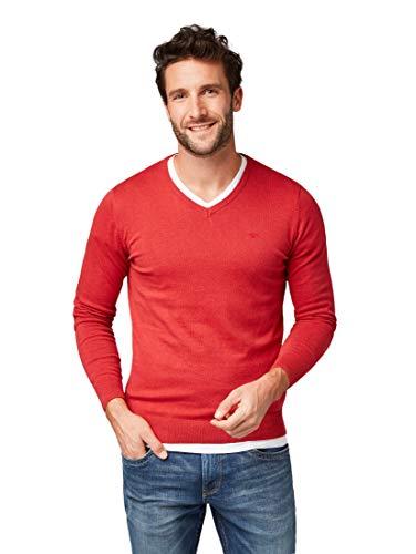 TOM TAILOR Herren Basic V-Neck Pullover, Rot (Damascus Red 4216), X-Large