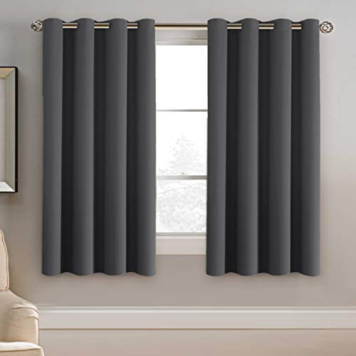 Blackout Grey Curtains for Bedroom Thermal Insulated Curtains 63 Inches Length Blackout Curtain Panel for Living Room, Luxury Grommet Bedroom Curtains Blackout - Solid in Charcoal Gray, One Panel