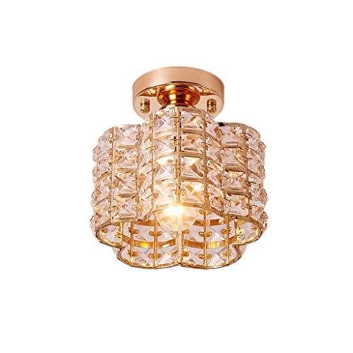 YANQING Duurzame Plafondlampen Creatieve LED Crystal Plafond Lamp Aisle Corridor Lamp Veranda Balkon Lamp Plating E27 Lamp 18 * 19cm Plafondlampen (Kleur : Goud, Kleur:Goud