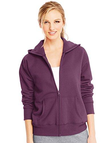 Hanes Women's EcoSmart Full-Zip Hoodie Sweatshirt, Plum Port Heather, Large
